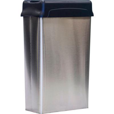Witt Stainless Steel Wall Hugger Wastebasket w/Plastic Swing Top 22 Gallon, 70HTSS