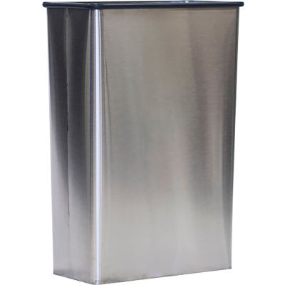 Witt Stainless Steel Wall Hugger Wastebasket Without Plastic Swing Top 22 Gallon, 70SS