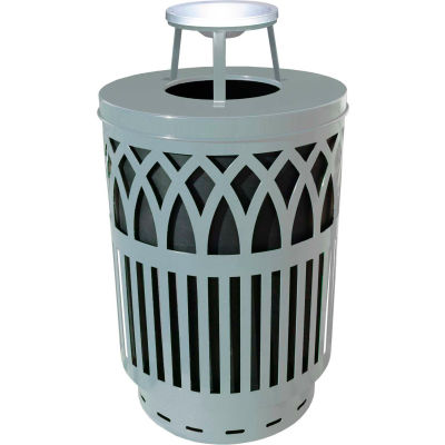 Covington 40 Gallon Steel Ash Top Receptacle, Silver - COV40P-AT-SLV