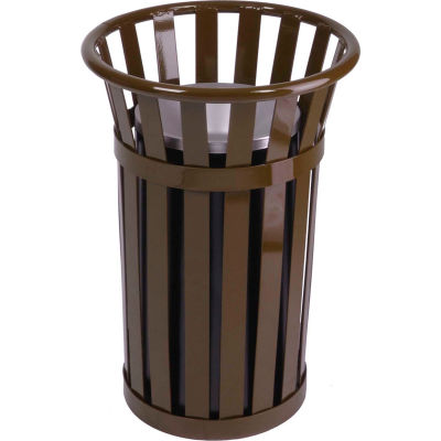 "Oakley Slatted Steel Ash Urn 17""Dia. X 26""H, Brown - M2000-BN"