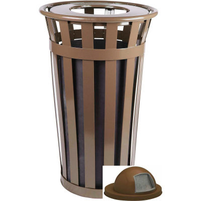 Oakley 24 Gallon Slatted Steel Receptacle w/Dome Top, Brown - M2401-DT-BN
