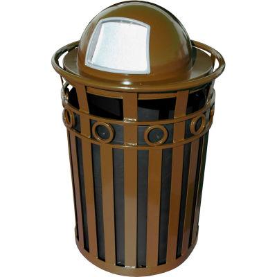 Oakley 36 Gallon Decorative Slatted Steel Receptacle w/Dome Top, Brown - M3600-R-DT-BN