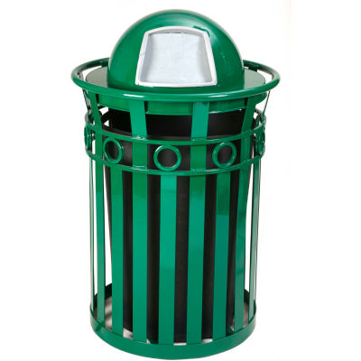 Oakley 36 Gallon Decorative Slatted Steel Receptacle w/Dome Top, Green - M3600-R-DT-GN
