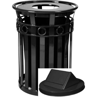 Oakley 36 Gallon Decorative Slatted Steel Receptacle w/Swing Top, Black - M3600-R-SWT-BK