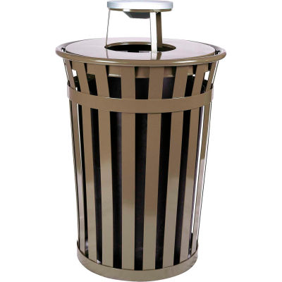 Oakley 36 Gallon Slatted Steel Receptacle w/Ash Top, Brown - M3601-AT-BN