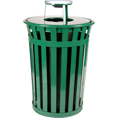 Oakley 36 Gallon Slatted Steel Receptacle w/Ash Top, Green - M3601-AT-GN
