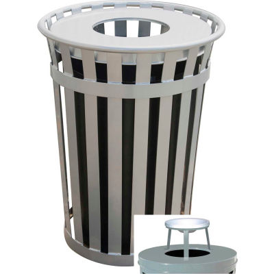 Oakley 36 Gallon Slatted Steel Receptacle w/Ash Top, Silver - M3601-AT-SLV