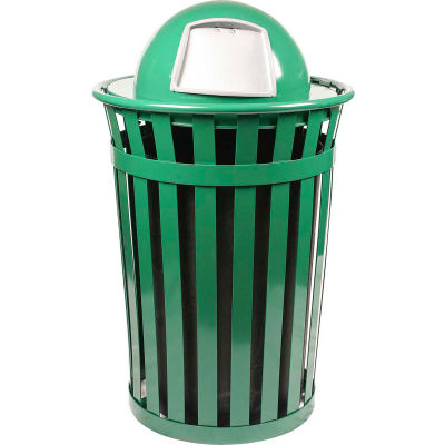 Oakley 36 Gallon Slatted Steel Receptacle w/Dome Top, Green - M3601-DT-GN