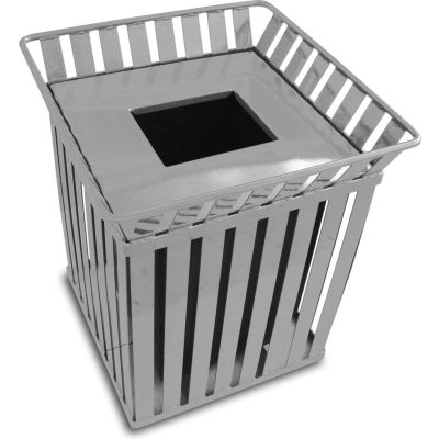 Oakley 36 Gallon Slatted Square Steel Receptacle w/Flat Top, Silver - M3601-SQ-FT-SLV