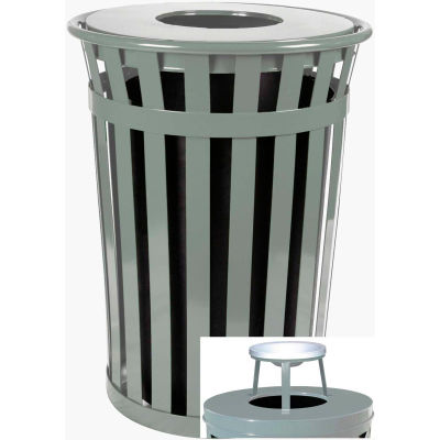 Oakley 50 Gallon Slatted Steel Receptacle w/Ash Top, Silver - M5001-AT-SLV