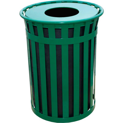 Oakley 50 Gallon Slatted Steel Receptacle w/Flat Top, Green - M5001-FT-GN