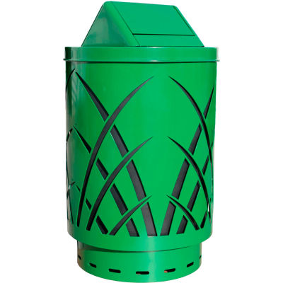 Covington Saw Grass 40 Gallon Receptacle w/Swing Top, Green - SAW40P-SWT-GN
