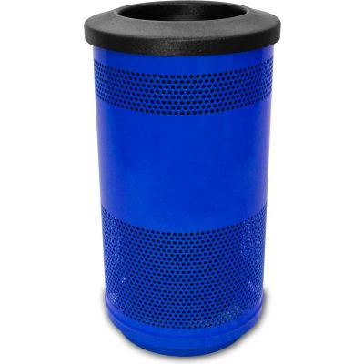 Stadium Series® 35 Gallon Receptacle w/Flat Top Lid, Blue Streak II - SC35-01-BS-FT