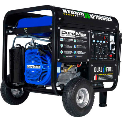 DuroMax Hybrid Portable Generator W/ Electric Start, Dual Fuel, 10000 Rated Watts