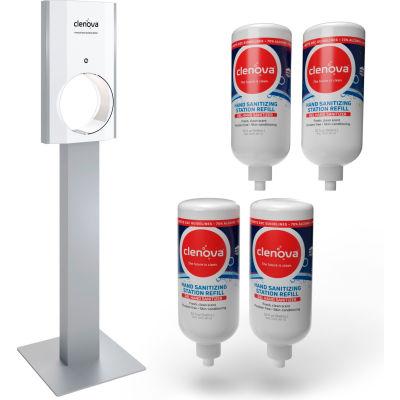 Clenova™ Premium Touchless Hand Sanitizer Starter Kit w/Floor Stand & 4 Refills - HSD-1001-FK