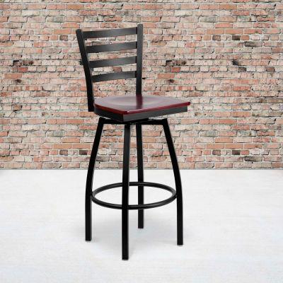 Flash Furniture Black Ladder Back Swivel Metal Barstool - Mahogany Wood Seat - HERCULES Series