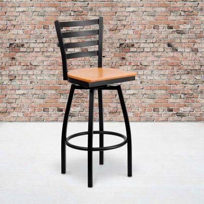 Flash Furniture Black Ladder Back Swivel Metal Barstool - Natural Wood Seat - HERCULES Series