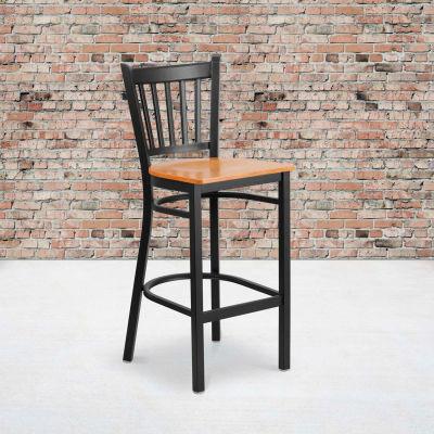 Flash Furniture Vertical Back Metal Restaurant Barstool - Natural Wood Seat - HERCULES Series
