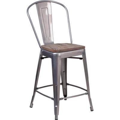 """Flash Furniture 24""""H Clear Coated Counter Height Stool with Back and Wood Seat"""