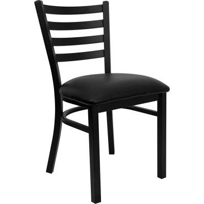 Flash Furniture Ladder Back Metal Restaurant Chair - Vinyl - Black - Hercules Series