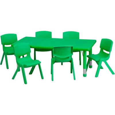 """Flash Furniture 48""""L Rectangle Plastic Height-Adjustable Activity Table Set with 6 Chairs - Green"""
