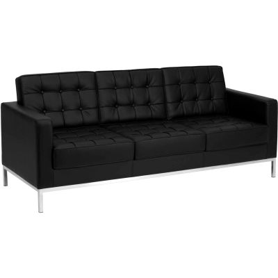 Contemporary Modular Lounge Sofa - Leather - Black - Hercules Lacey Series