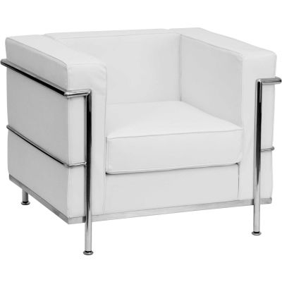 Contemporary Modular Lounge Chair - Leather - Melrose White - Hercules Regal Series