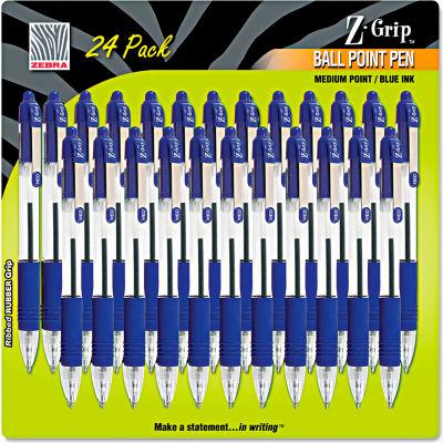 Zebra Z-Grip Retractable Ballpoint Pen, Blue Ink, Medium, 24/Pack