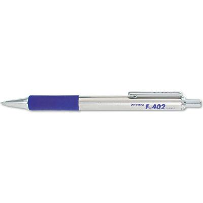 Zebra F-402 Ballpoint Retractable Pen, Blue Ink, Fine