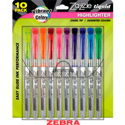 Zebra Zazzle Brights Fluorescent Liquid Highlighter - Chisel Tip - Assorted Ink - 10/Pack