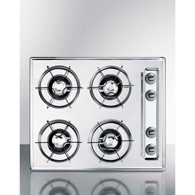 "Summit-Cooktop, Electric, 4 Burners, Battery Start, Brushed Chrome, 20"" x 24"" x 3-3/4"""