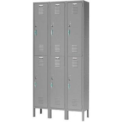 """Global Industrial™ Capital® Double Tier 6 Door Locker, 12""""Wx15""""Dx36""""H, Gray, Assembled"""