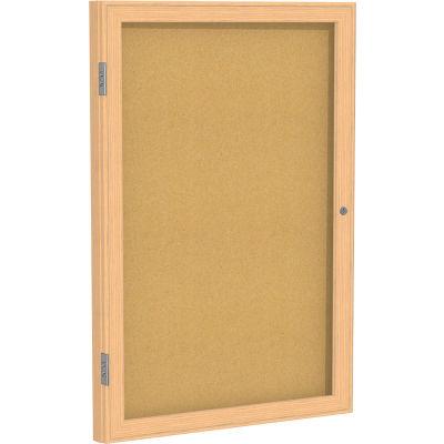 "Ghent® Natural Cork 1-Door Enclosed Bulletin Board With Oak Frame, 24""L x 18""W"
