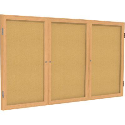 "Ghent Enclosed Bulletin Board - 3 Door - Natural Cork w/Oak Frame - 36"" x 72"""