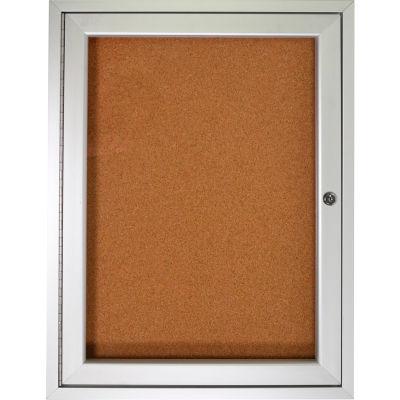 "Ghent Enclosed Bulletin Board - 1 Door - Natural Cork w/Silver Frame - 36"" x 36"""