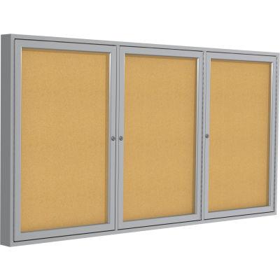 "Ghent Enclosed Bulletin Board - 3 Door - Natural Cork w/Silver Frame - 36"" x 72"""