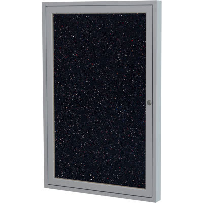"""Ghent Enclosed Bulletin Board - Indoor - Confetti Recycled Rubber - 1 Door - 24"""" W x 36"""" H"""