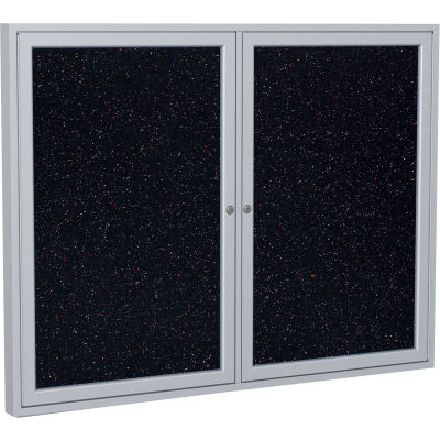 "Ghent Enclosed Bulletin Board - 2 Door - Confetti Recycled Rubber w/Silver Frame - 36"" x 48"""