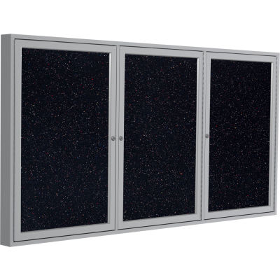 """Ghent Enclosed Bulletin Board - 3 Door - Confetti Recycled Rubber w/Silver Frame - 36"""" x 72"""""""