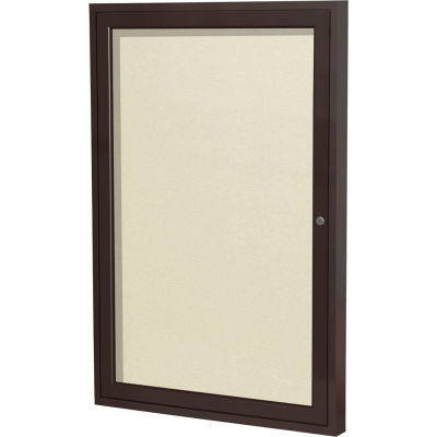"Ghent Enclosed Bulletin Board - Outdoor - Vinyl - Bronze Frame - 36"" x 24"" H - Ivory"