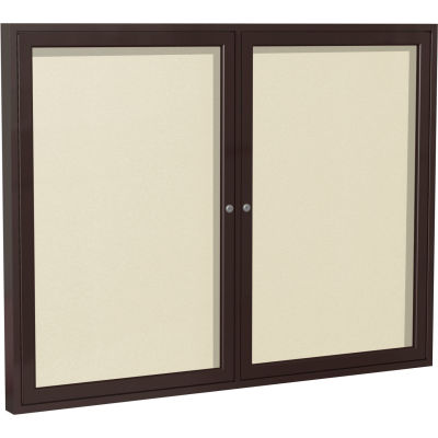 "Ghent Enclosed Bulletin Board - Outdoor - Vinyl - Bronze Frame - 36"" x 48"" H - Ivory"