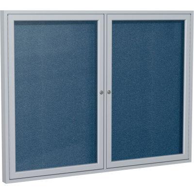 """Ghent Enclosed Bulletin Board - Outdoor / Indoor - Vinyl - 48"""" x 60"""" H - Navy"""