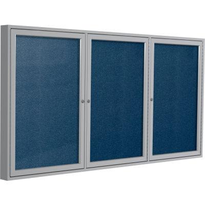 """Ghent Enclosed Bulletin Board - Outdoor / Indoor - Vinyl - 36"""" x 72"""" H - Navy"""