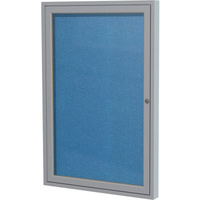 "Ghent Enclosed Bulletin Board - Outdoor / Indoor - Vinyl - 36"" x 36"" H - Ocean"