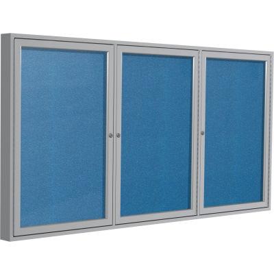 """Ghent Enclosed Bulletin Board - Outdoor / Indoor - Vinyl - 36"""" x 72"""" H - Ocean"""