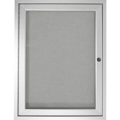 "Ghent Enclosed Bulletin Board - Outdoor / Indoor - Vinyl - 36"" x 30"" H - Silver"