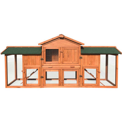 Hanover Outdoor Wooden Elevated Rabbit Hutch with Ramp, Run, Waterproof Roof and Removable Tray