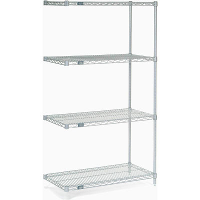 "Nexelate® Silver Epoxy Wire Shelving Add-On 36""W x 14""D x 74""H"
