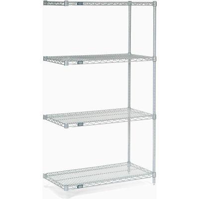 "Nexelate® Silver Epoxy Wire Shelving Add-On 48""W x 14""D x 74""H"