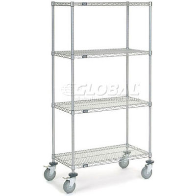 Nexel® Chrome Wire Shelf Truck 36x18x69 1200 Pound Capacity with Brakes